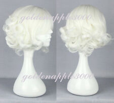 "12"" 30cm Lolita Short Curly White Cosplay Costume Wig Party Wigs"