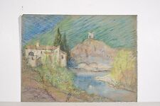 Dessin n.s Pastel Marguerite DUBOIS XX° Paysage Saint Donat / l'Herbasse Drôme