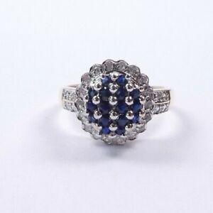 Sapphire and diamond cluster ring 9 carat yellow gold Deco style