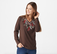 Denim & Co. Jersey V-Neck Long-Sleeve Top w/Embroidery - Dark Chocolate - XSmall