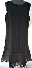 NEW ANN TAYLOR LOFT LADIES BLACK KNIT DRESS LBD LASER CUT FLORAL DETAIL SIZE 8