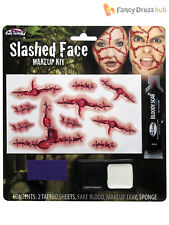 Slashed Face Make Up Kit Fancy Dress Halloween Wound Scar Fake Blood Tattoo