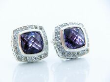 DAVID YURMAN PETITE ALBION EARRINGS WITH AMETHYST  AND DIAMONDS
