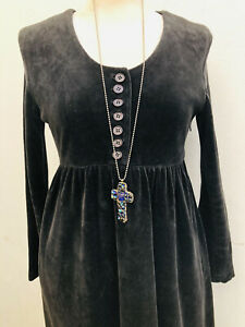 Vintage Velvet Victorian Style Dress UK 8 Button Front Goth Steampunk 30 Ins