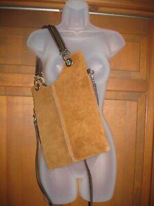 Brown Suede Leather Crossbody Shoulder Bag Purse Silver Grommets 2 Straps 10x12