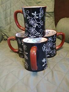 Temp-tations By Tara Ceramic Blue Floral Lace Coffee Cups/Mugs, Set of 4, 16 oz