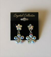 Rhinestone Crystal Flower Dangle Earrings Iridescent AB Stone Wedding Sparkle