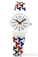 Swiss Swatch Originals PATTU White Multi-Color Print Petite Watch 25mm LW156 $60