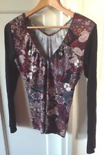 Zimo Clothing Size M 10 12 Dark Floral V Neck Stretch Top. Very Cute!