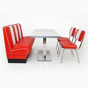 American Dinerbank Viber 2 Set rot-weiß, Fifties-Sixties Retro