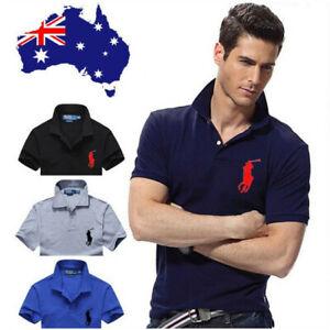 Polo Ralph Lauren Men's T-shirt Collar Neck Custom Fit Small Pony S-XXL