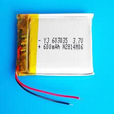 600mAh 3.7V Lipo Li-polymer Battery for MP3 DVD GPS Speaker Selfie Stick 603035