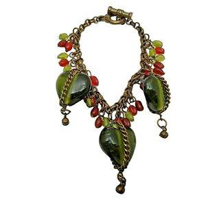 Vintage Green Hearts Red Glass Bead Dangle Bracelet Toggle Chain Bangle Boho