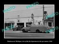 OLD LARGE HISTORIC PHOTO OF TITTABAWASSEE MICHIGAN, THE TOWN FIRE TRUCK c1960
