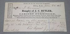 1878 Butler Furniture Bill of Sale Receipt Albany New York Mercantile History