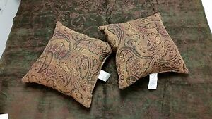 Luxury Designer Green Cafe Chenille Tapestry Throw and Set of Paisley Pillows