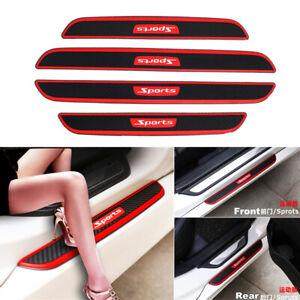 4x Rubber Car Door Step Pedal Strip Guard Non-slip Cover Carbon Look Sports Logo