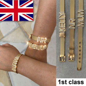 Personalised Initial Name Alphabet Letter Word Mesh Bracelet Gold Plated A to Z