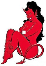 MINI Size Coop STICKER Decal Devil Girl CP4BL Left Facing