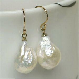 14-16mm White Baroque Pearl Earrings 18K Hook fashion elegant fine jewelry