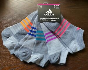Adidas Women's Superlite No Show Socks 6-Pair Gray w/stripes Size 5-10 Org$20 B8