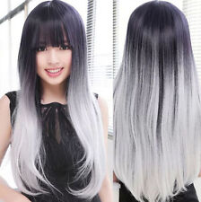 Black and white and grey mixed gradient lolita neat bang wig+Gift Wigs Cap