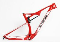"STRADALLI DUAL SUSPENSION 29"" FULL CARBON BICYCLE FRAME MTB BICYCLE RED 29ER XC"