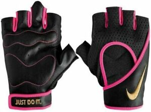 Nike Women's Pro Performance Wrap Training Workout Gloves Black/Pink/Gold Small