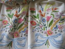 More details for vintage hand embroidered linen tablecloth-exceptional floral work-dated 1945