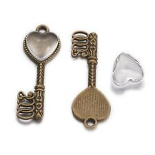 20Sets Alloy Pendant Settings with Glass Heart Cabochons Key Shape 34x12x2mm