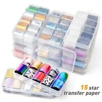 10Pcs Holographic Nail Foil Transparent Starry Sky Nail Art Transfer Sticker New