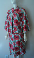 ANTHROPOLOGIE MON PETIT OISEAU 2PC SET SILK HAMPSTEAD RED ROSES DRESS SZE S NW