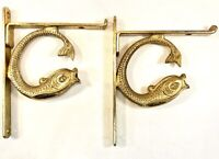 "Vintage RARE Art Deco Kai Fish Shelf Brass Bracket Pair 4.25"" x 5.5"" Very Nice!"