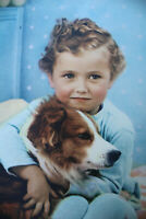 """Boy with Dog Litho Print USA O.H.K. 6 3/4"""" x 8 3/4"""" plus Matting #D-22"""