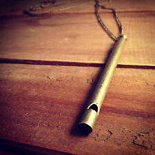 Antique Bronze Flute Whistle Necklace - REALLY WORKS Vintage Style Pendant Chain