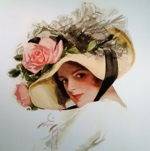 Victorian Lady Print Tan Hat with Pink Roses