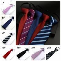 8CM Lazy Men's Zipper Necktie Striped Casual Business Wedding Zip Up Neck Ties