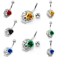Stainless Steel Crystal Skull Navel Ring 14G Belly Button Bar Body Piercing Punk