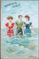 Bathing Beauty, Artist-Signed 1910 Postcard, Seagulls Girls- Risque, Color Litho