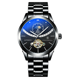 MENS STOCKWELL AUTOMATIC WATCH BLACK STAINLESS STEEL STRAP RRP £575