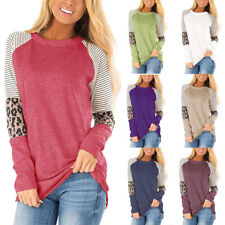 Women Long Sleeve Crew Neck Leopard Print Blouse Casual Loose Tunic Tops T Shirt