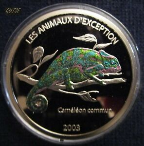 CONGO DEM. REP., 5 FRANCS 2003, COLORED CHAMELEON, PROOF.