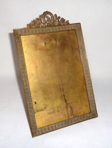 Antique Early 1900 French Ormolu Bow Top Picture FrameSigned ParisThick Beveled Glass French Frame