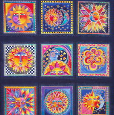Beautiful ~Celestial Dreams~ Laurel Burch Bright Fabric Panel Stars Moons Suns