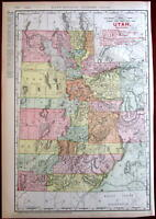 Utah Railroads 1908 huge detailed Rand McNally state by itself map