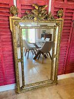 SUBLIME GRAND MIROIR À PARECLOSE LOUIS XVI, en bois doré, HAUTEUR 146 cm