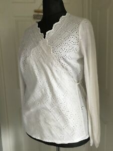 Next Broderie Anglaise white Wrap top Size 18