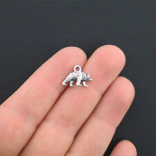 10 Bear Charms Antique Silver Tone Small Sized - SC3246