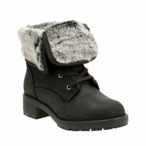 Clarks Reunite Up Gtx Black Warm Leather Womens Boots Size UK 4D
