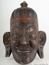 Tibet 19. Jh Mask - Tibetan Wood Mask Carved & Painted Wood - Masque Tibétain